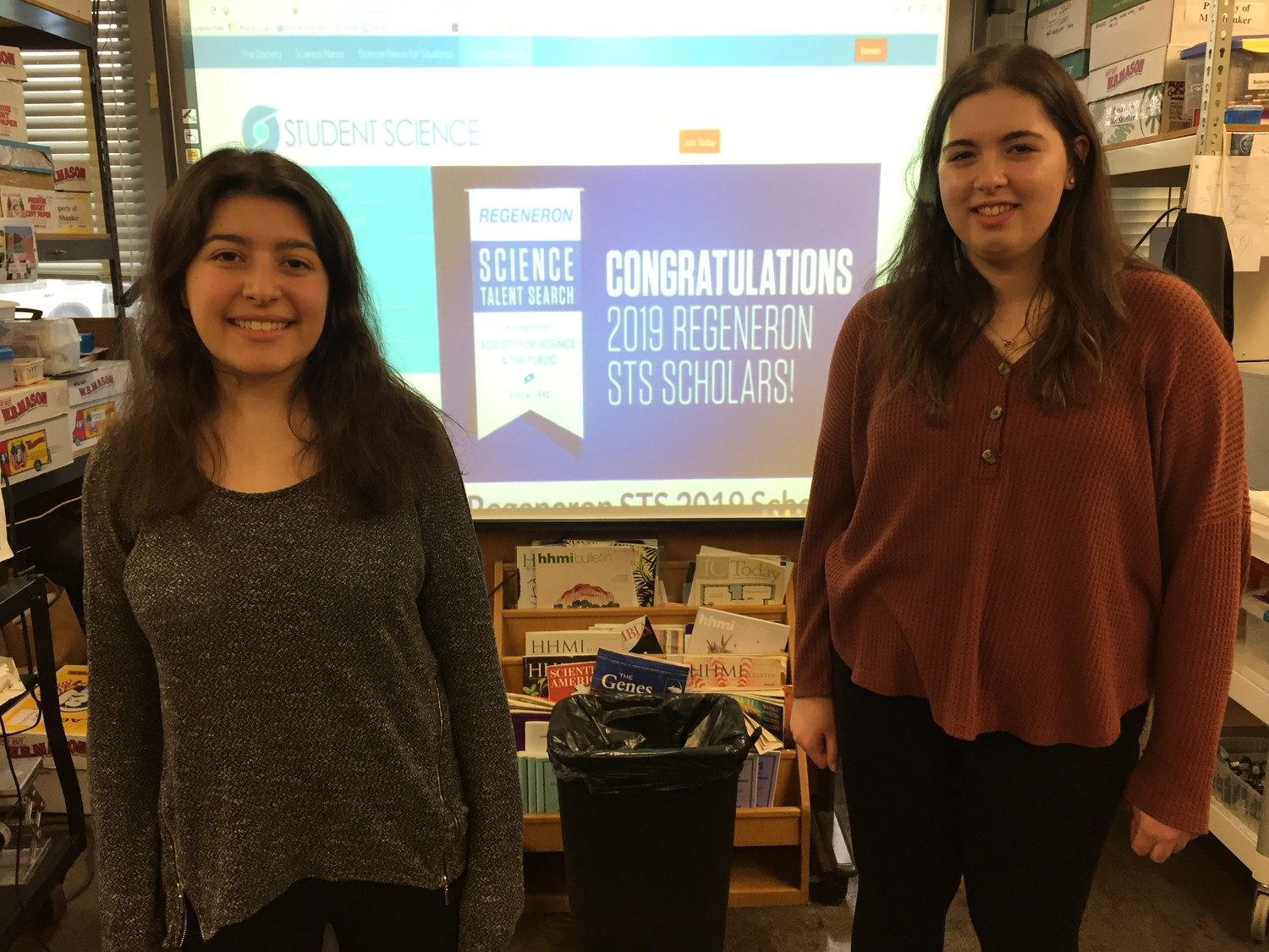 Lynbrook High School seniors Kaylie Hausknecht, left, and Juliana Condoleo were among 300 semifinalists in the 2019 Regeneron Science Talent Search.