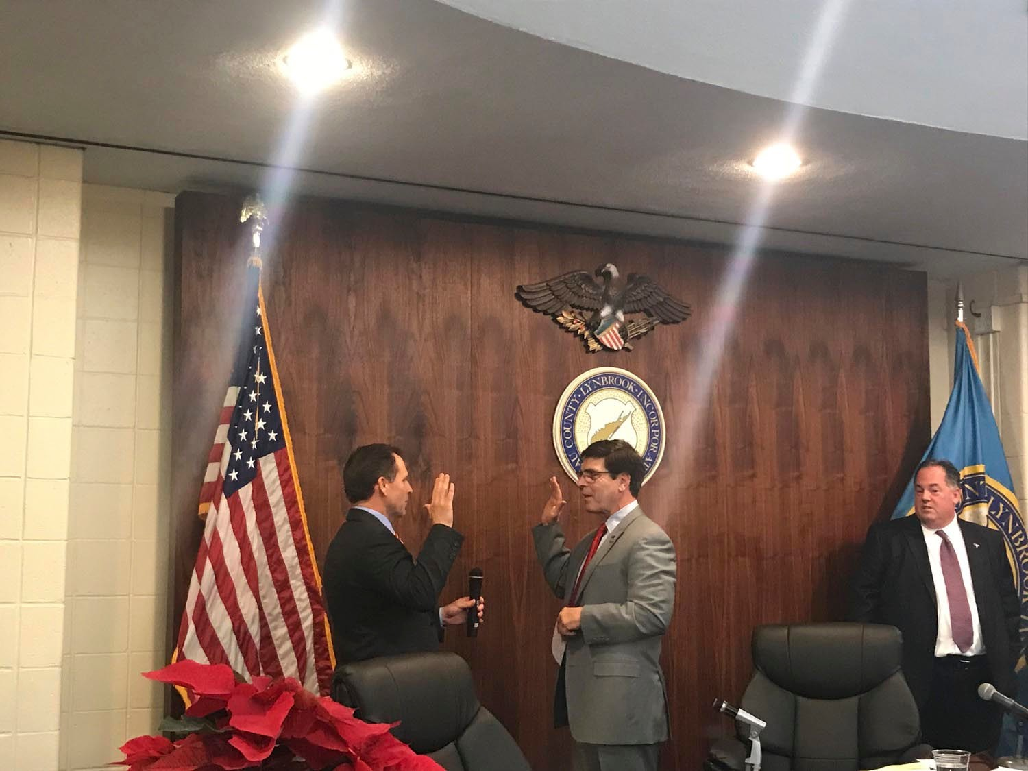 Hilary Becker, left, was sworn in as deputy mayor by Beach in December 2017.