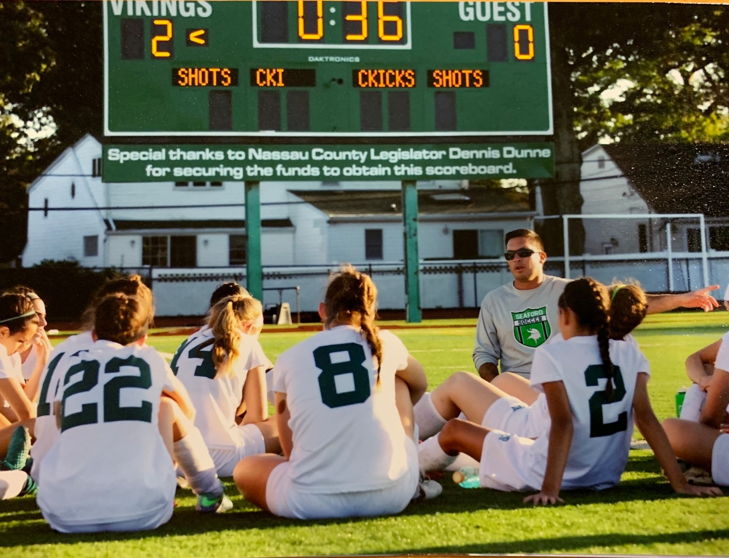 Botti working with the varsity girls' soccer team at Seaford High last September.