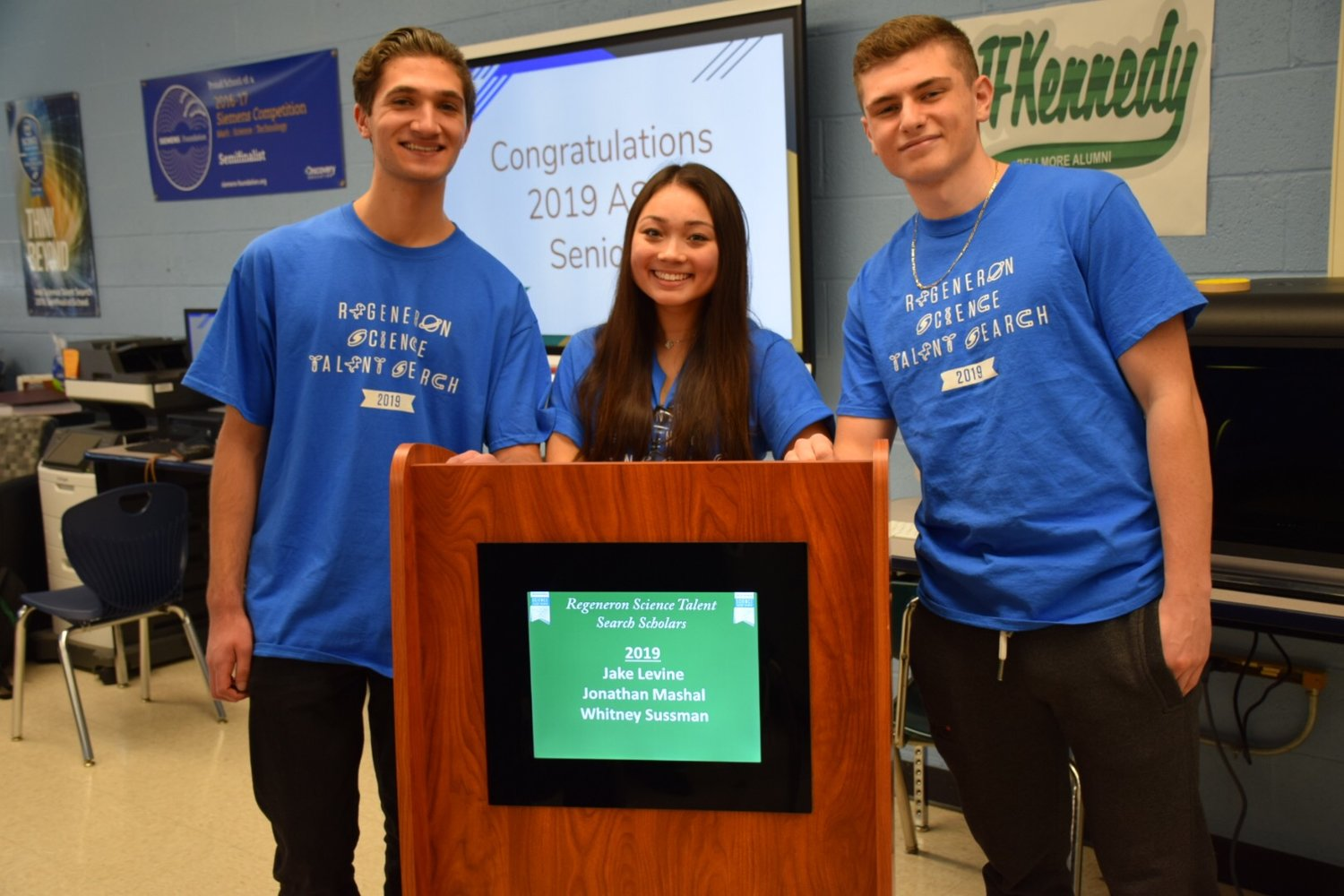 Regeneron scholars from Kennedy High School in Bellmore, from left, Jonathan Mashal, Whitney Sussman and Jake Levine.