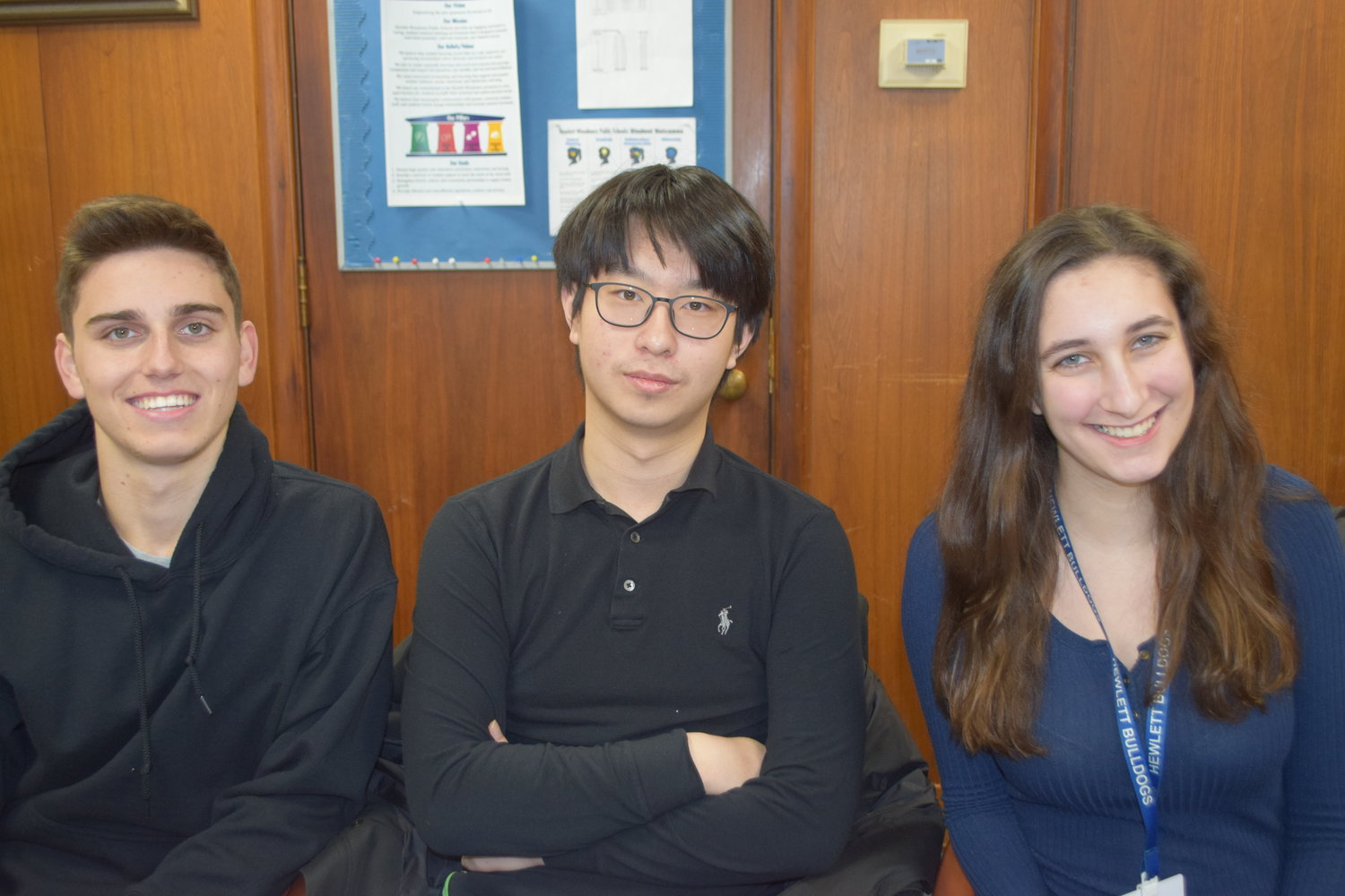 Hewlett High School seniors, from left, Samuel Bogdanov, Siyuan Yue and Julia Grossman were named semifinalists in the 2019 Regeneron Science Talent Search.