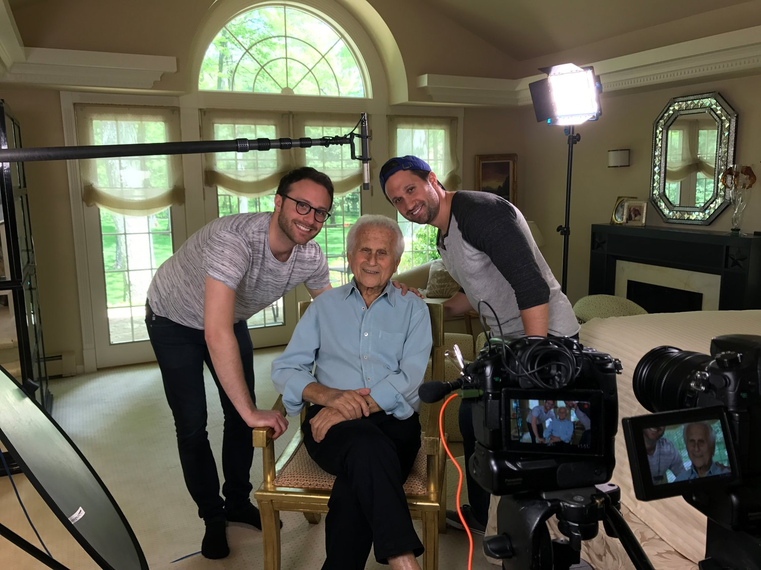 'The Starfish' documentary is a family project. From left, producer Alex Utay, another one of Herb Gildin's grandchildren, Herb, and the director Tyler Gildin.