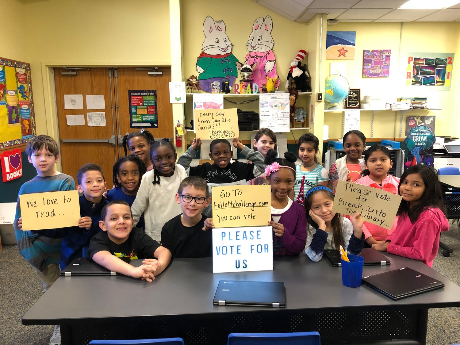 Members of Brooklyn Avenue's third-grade class were ready to vote in 2019's Follett Challenge contest.