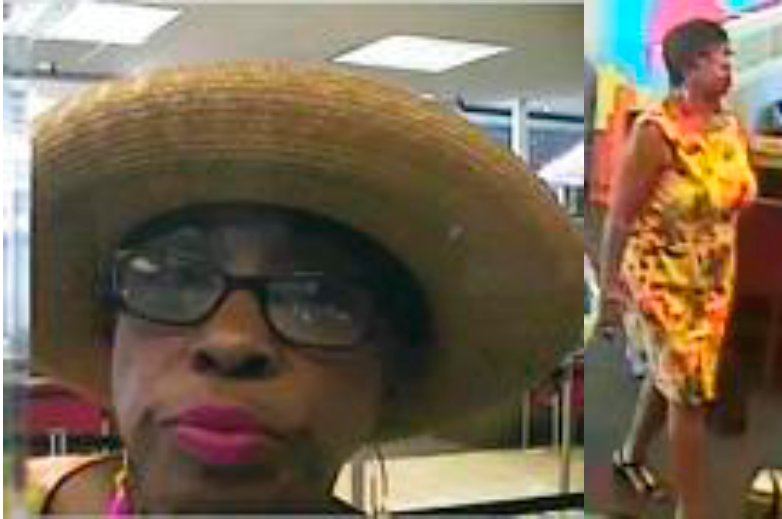 This unidentified woman is alleged to have committed identity theft and have stolen money from another person's bank account 
