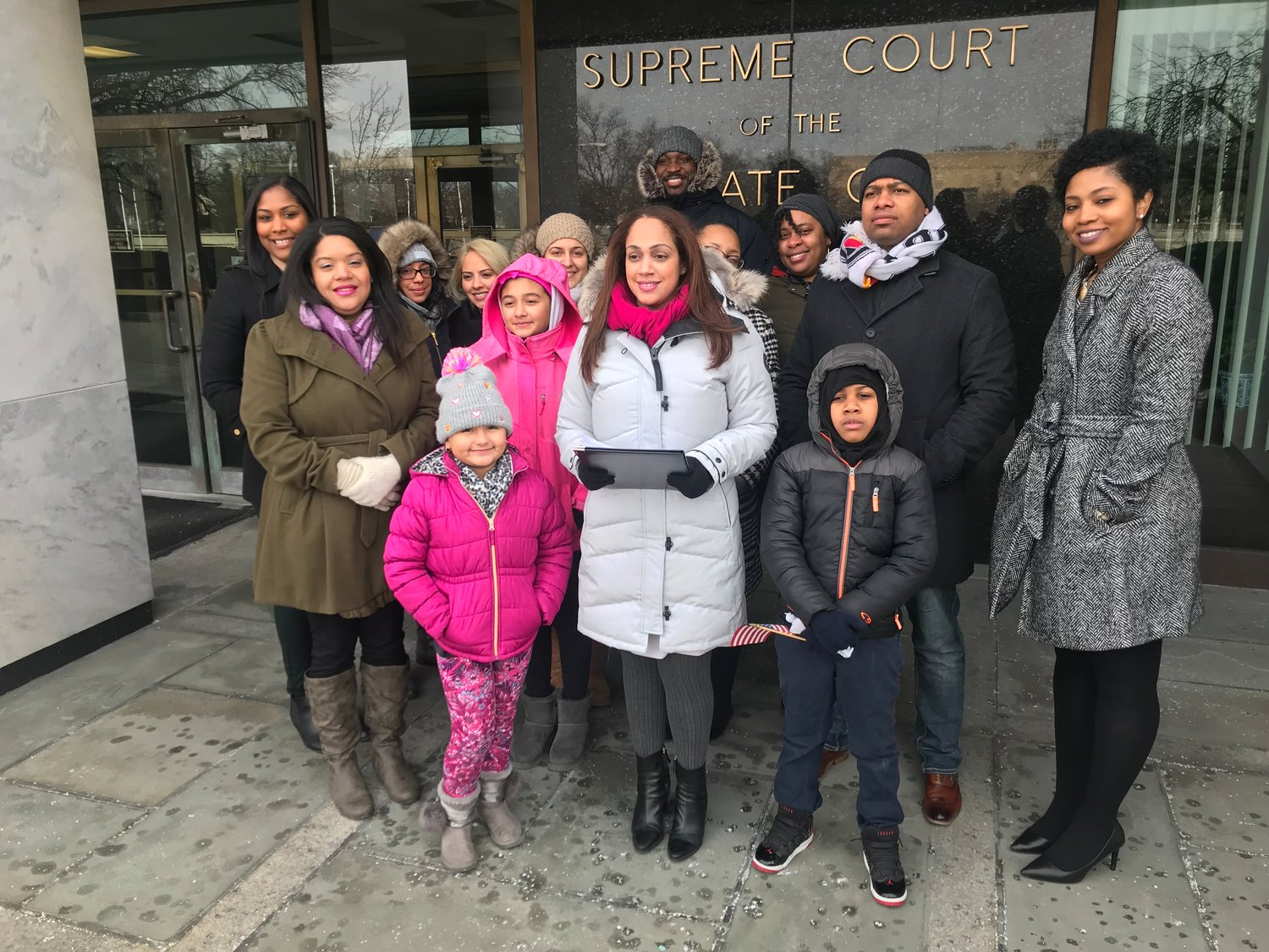 Friends and family joined Elmont's Monique Hardial as she announced her candidacy for Nassau County's Third Legislative District seat on Jan. 21.