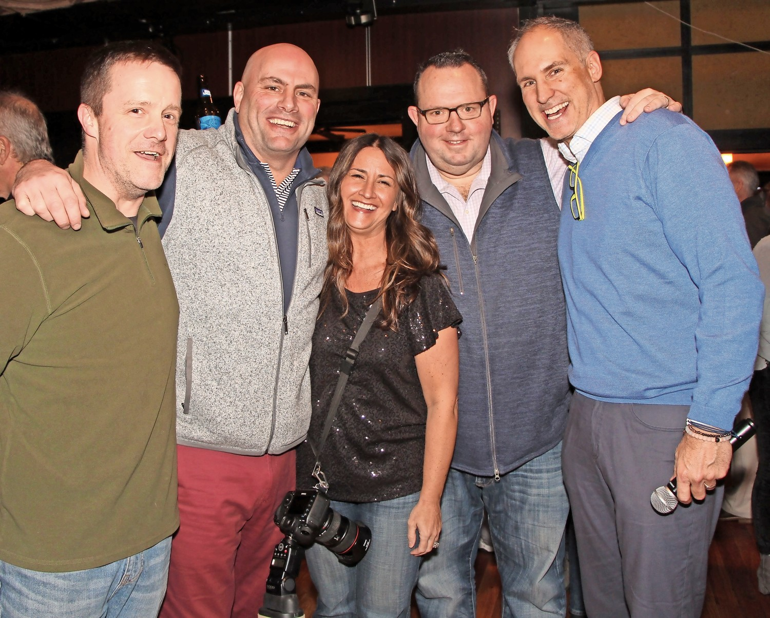 Michael McEnerney, left, Lisa Hyland, John Noak, Chris Johnson and Kerry Keating organized the fundraising event for their childhood friend Sean O'Brien.