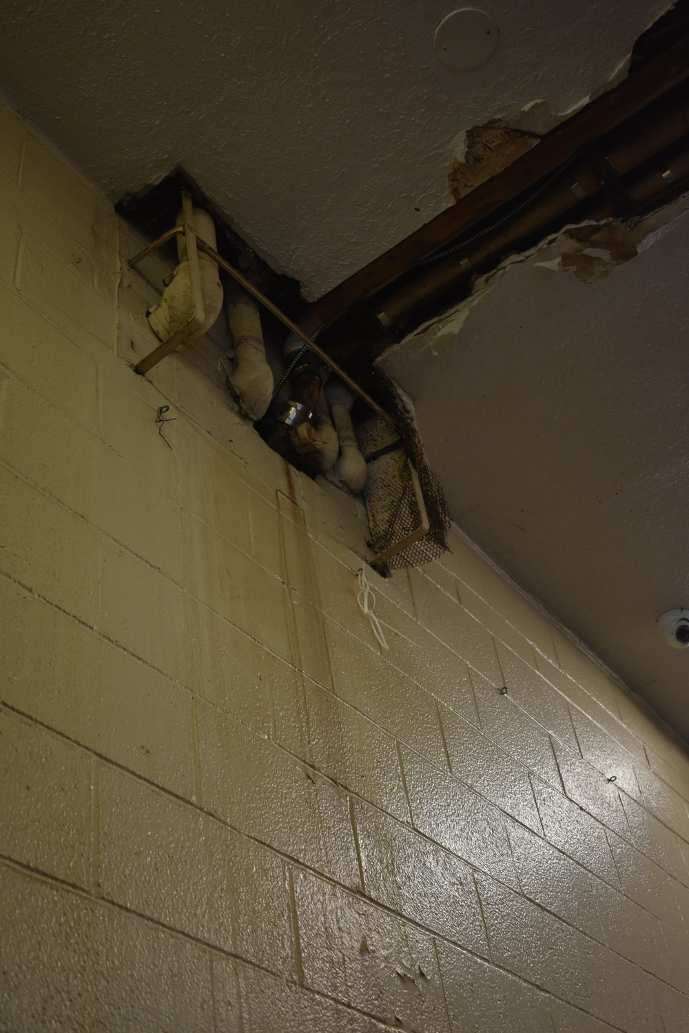 Pipes on the wall of the firehouse at 103 Maple Ave. have leaked wastewater, according to Fire Chief Brian Cook.