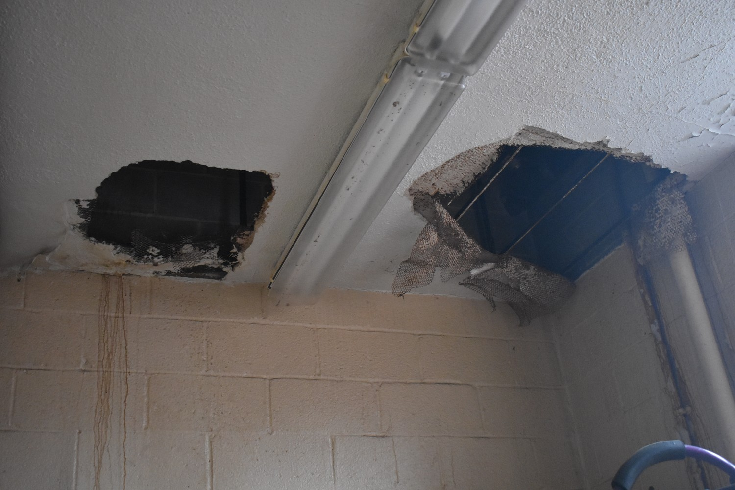 Portions of the ceiling are damaged at the Maple Avenue firehouse.
