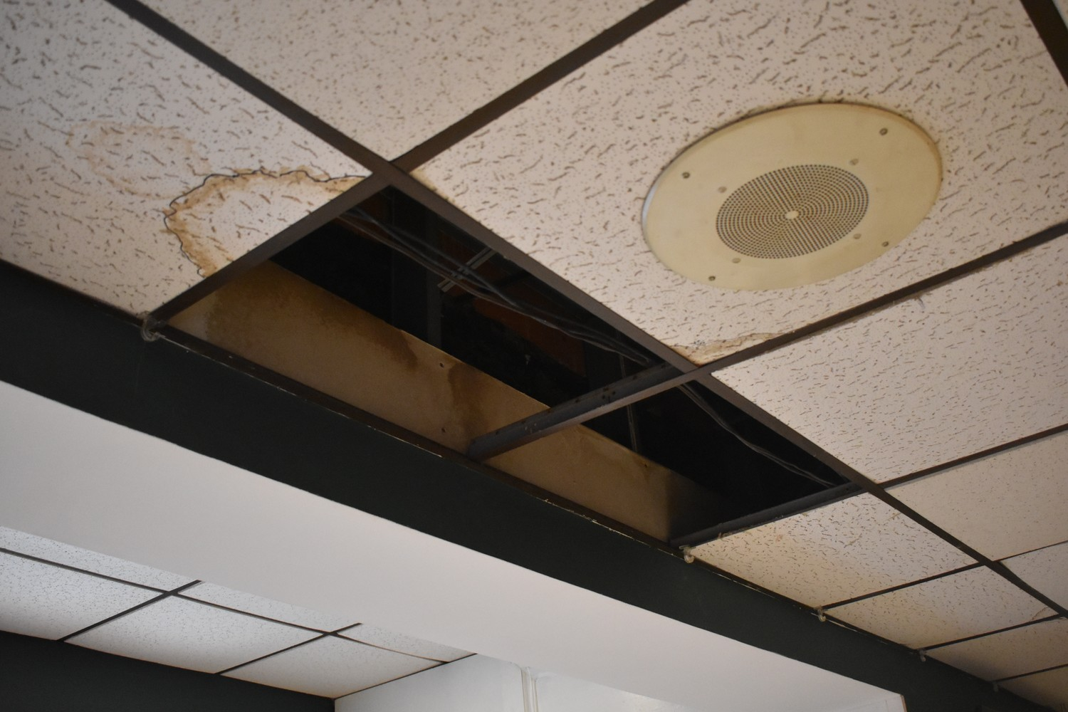 Ceiling panels are missing.
