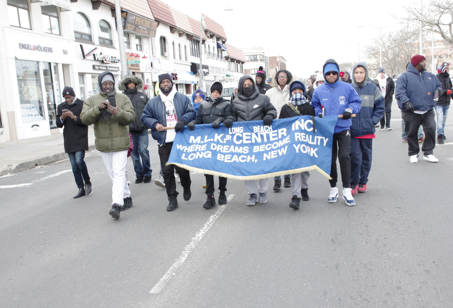 Hundreds of people endured the bitter cold on Monday to march along Riverside Boulevard and celebrate the legacy of the Rev. Dr. Martin Luther King Jr., six days after what would have been his 90th birthday.