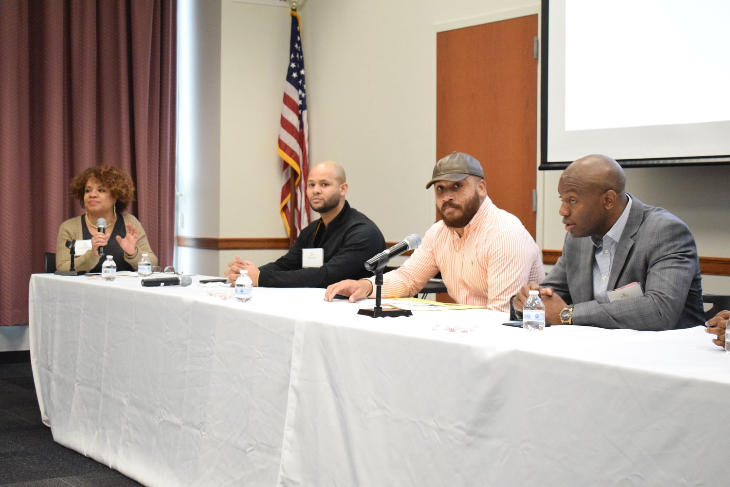 Mimi Pierre-Johnson, left, led a pannel of millennials who gave their perspectives on youth engagement. From the left were Dan Lloyd, Pastor Justin Greaves and Leonard lans.