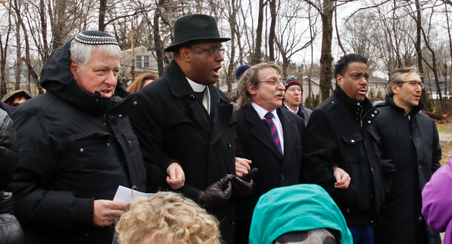 Cantor Gustavo Gitlin, left, Reverend Dr. Craig J. Wright, Rabbi Irwin Huberman, Revered Roger C. Williams and Rabbi Neil Schuman were there to honor Anne Frank and Dr. Martin Luther King Jr.