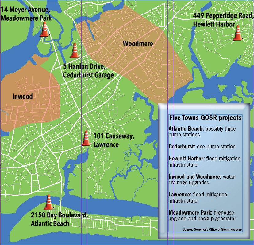 Where the infrastructure projects are located in the Five Towns and surrounding communities.