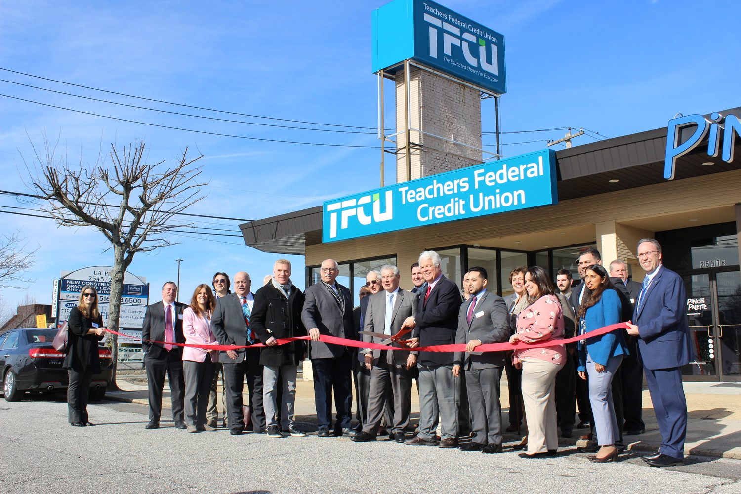 The East Meadow Chamber of Commerce celebrated the opening of the Teachers Federal Credit Union branch in East Meadow with a ribbon cutting on Jan. 17.