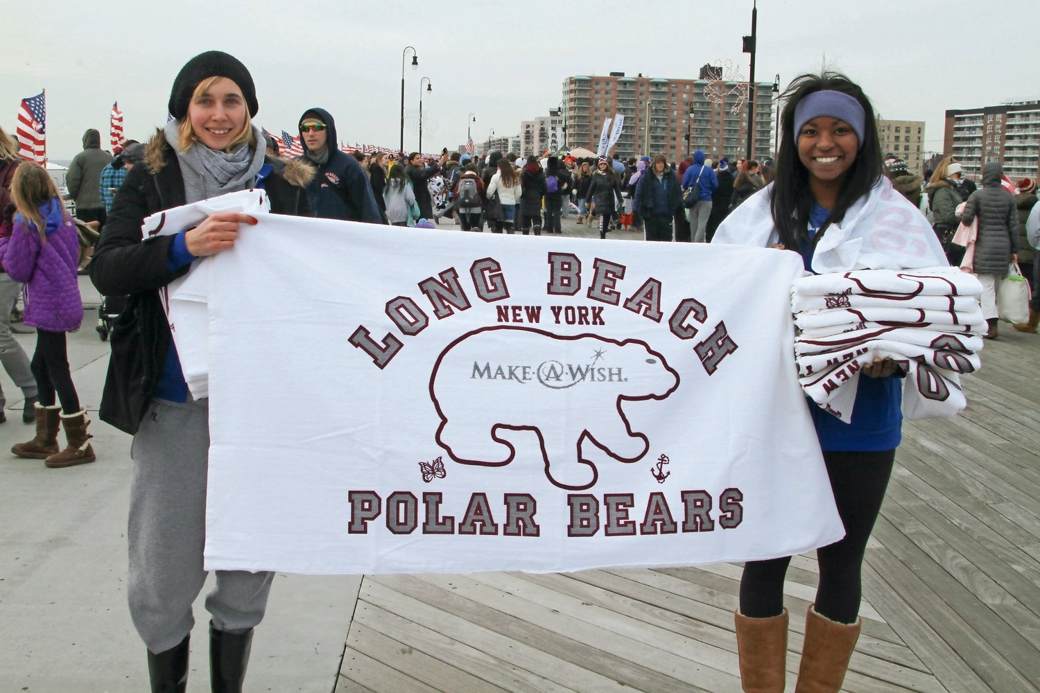 Hofstra University students Hannah Klemm and Brianna Montgomery sold Polar Bear towels on the boardwalk in 2015.