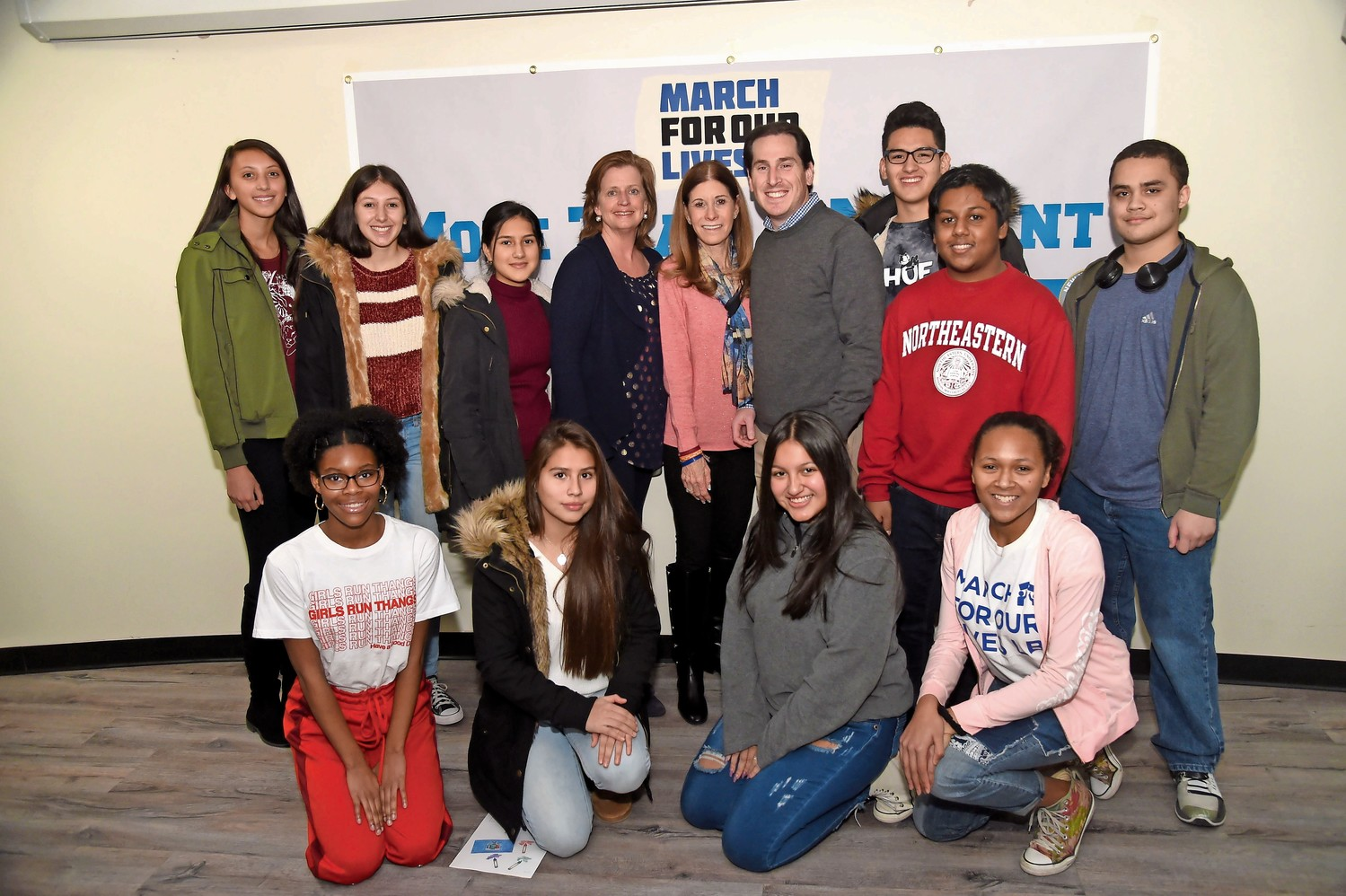 Students from across Nassau County joined Assemblywoman Judy Griffin, Linda Schulman and Sen. Todd Kaminsky. 