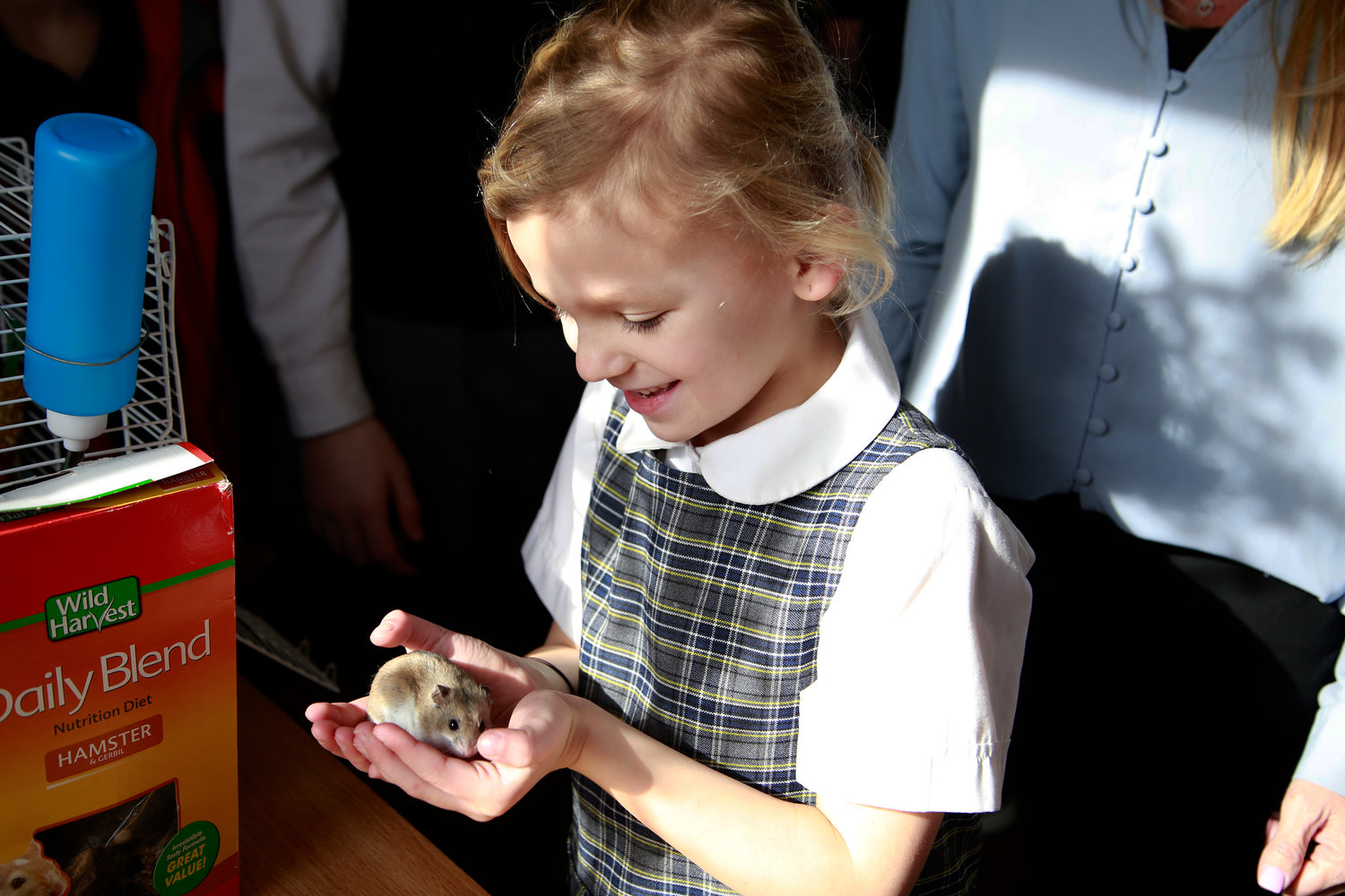Six-year old Clara Lang got to hold Nugget, a dwarf hamster.