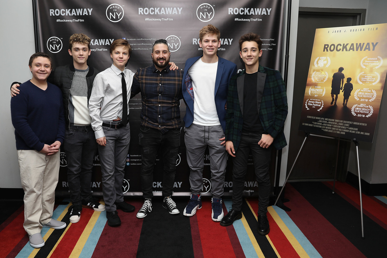 "After a successful festival run in 2017 and 2018, writer and director John J. Budion's film ""Rockaway"" landed a streaming deal and limited theatrical release in New York City. Above, Budion, center, with his young cast members, from left, James DiGiacomo, Keidrich Sellati, Tanner Flood, Harrison Wittmeyer and Colin Critchley at a premiere party."