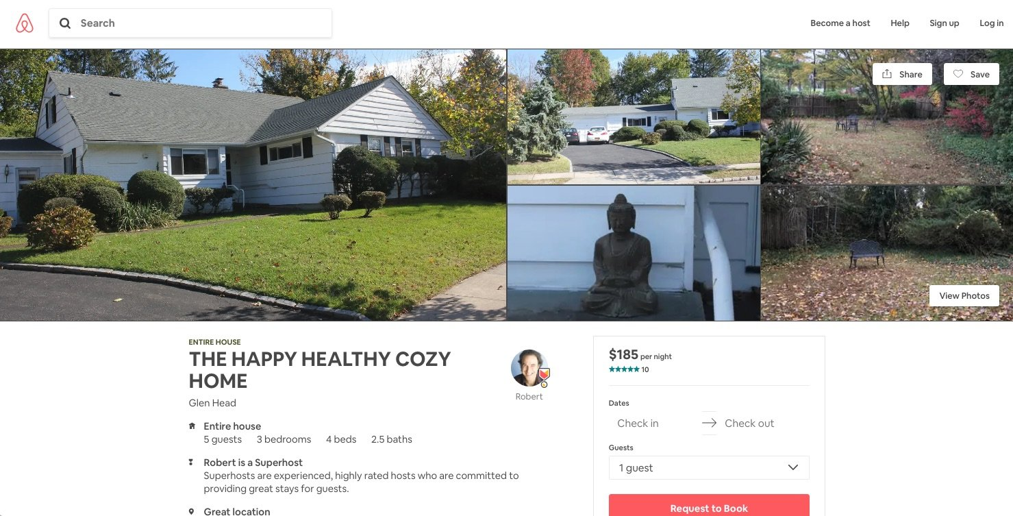 "The Glen Head property is listed on Airbnb's website as a ""happy healthy cozy home."""