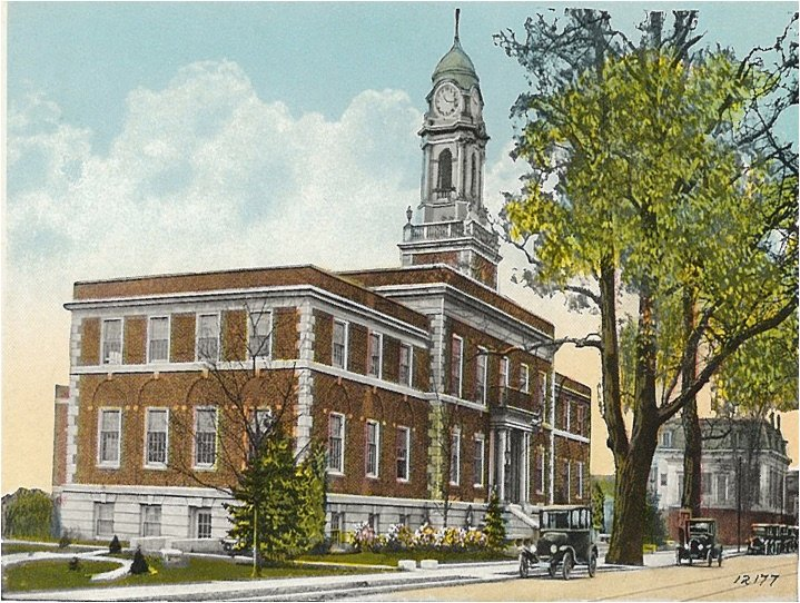 "This is the only postcard of ""Old"" Town Hall that Tom Saltzman, former town historian, could find. The building was constructed in 1919."