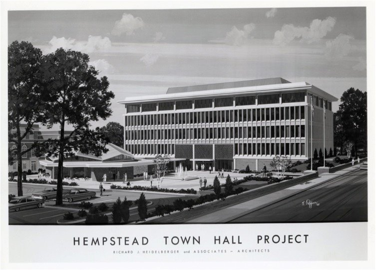 The original design for an update to Hempstead Town Hall after World War II. The final construction matched the concept, and can still be seen today.