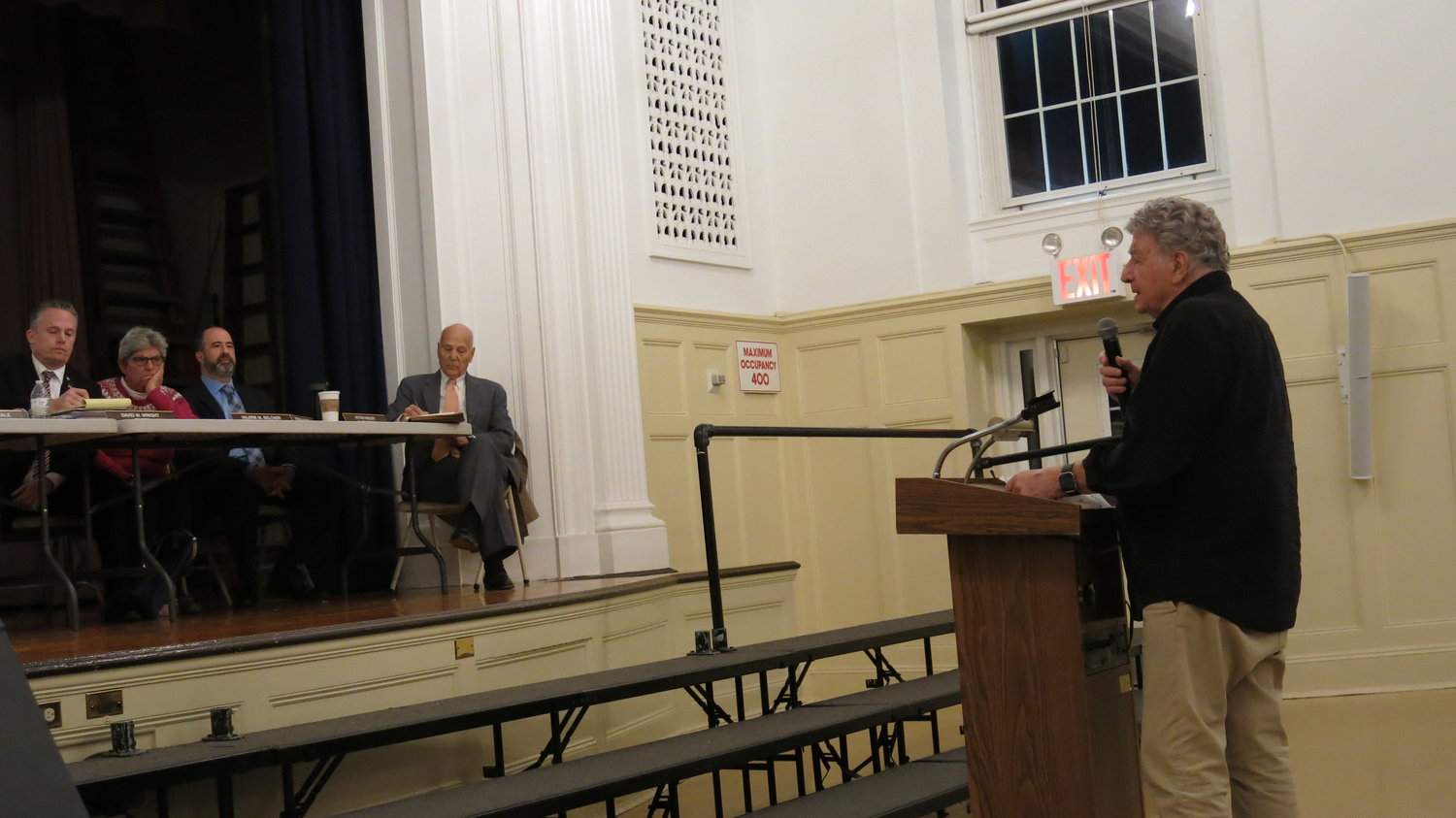 Vincent Cicero, of Bayville, asked the village board about the proposed project for the former Steve's Pier property on Monday.