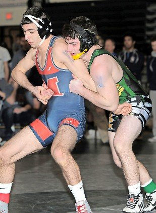 Lynbrook's Tyler Heaney, right, reached the 145-pound final at last weekend's county qualifier tournament hosted by Bellmore-JFK.