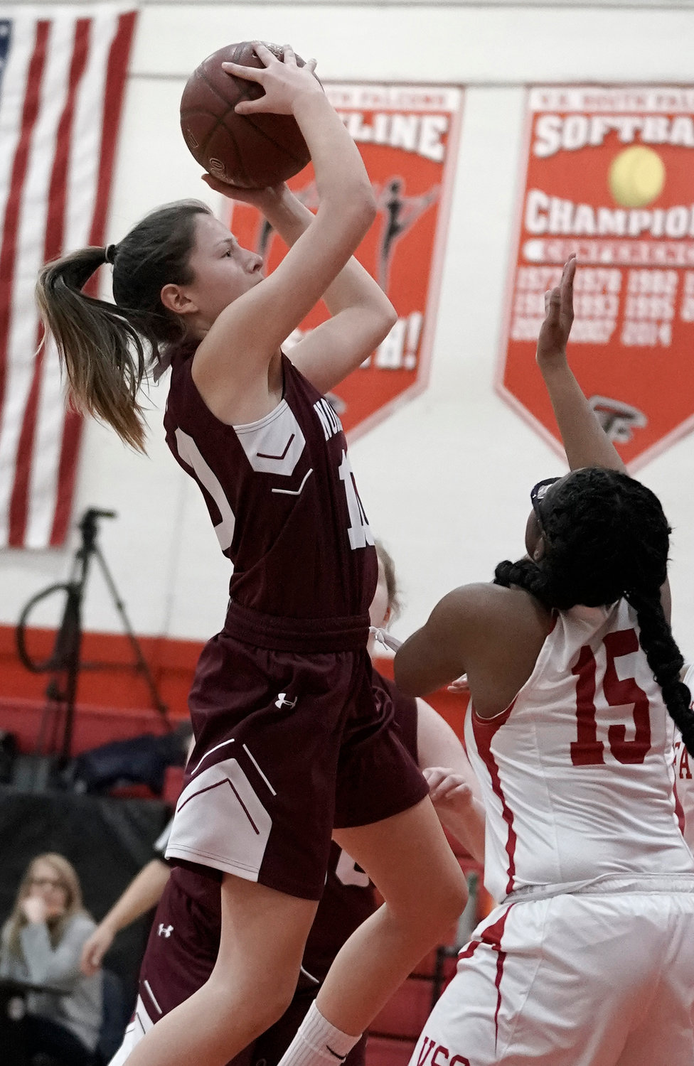 Jennifer Walton, left, scored 15 points Jan. 31 as the Lady Vikings won their fourth straight, beating visiting Lynbrook, 56-53.