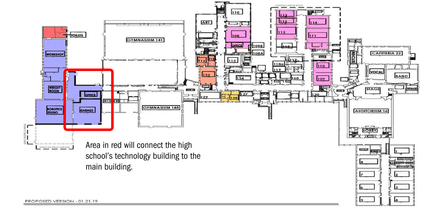 If the East Rockaway School District's proposed $30.5 million bond were approved, the high school's technology building would be connected to the main building.