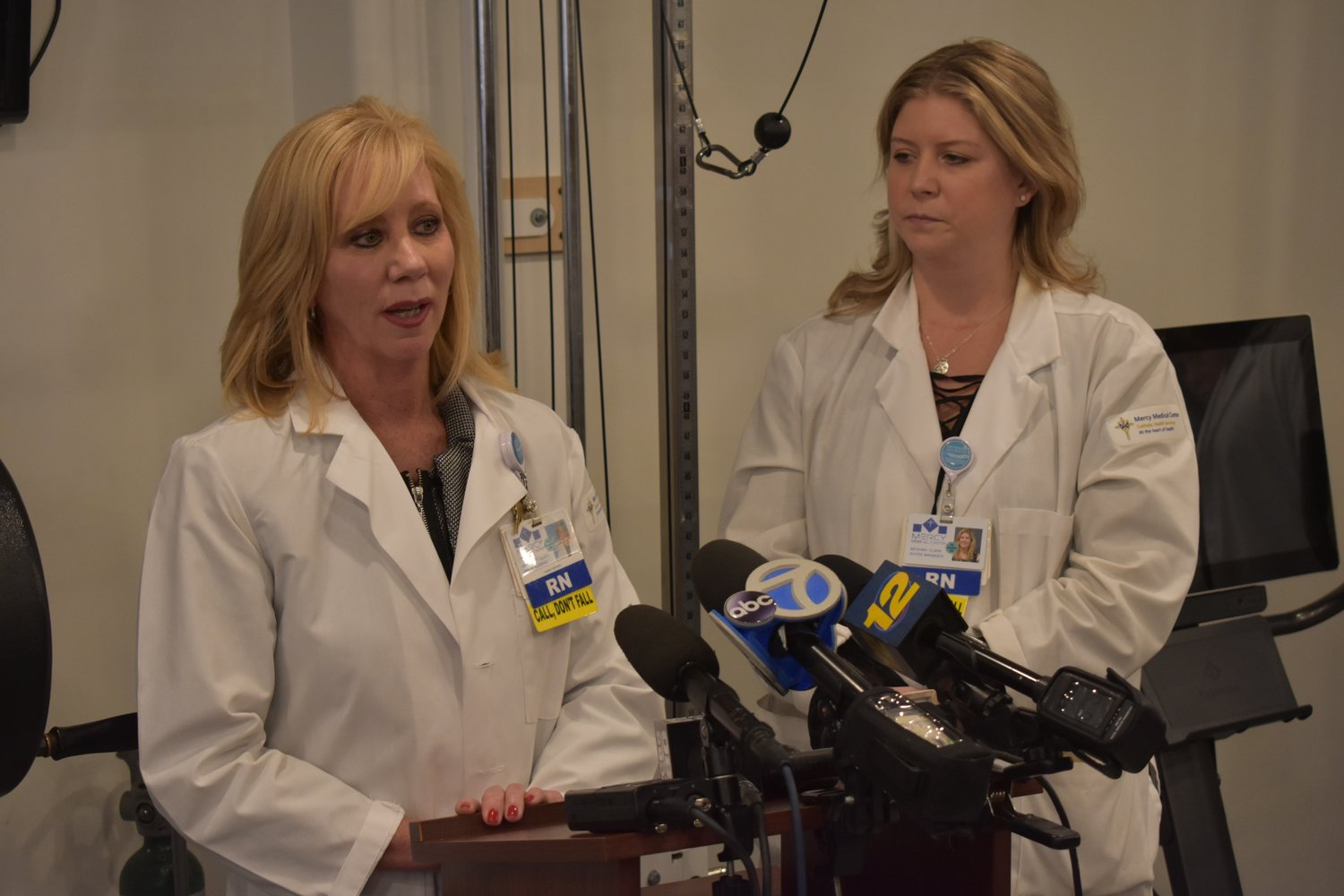 At a Jan. 31 news conference, Maggie Glier, left, director of nursing services at Mercy Medical Center, called Patricia Lewis the most inspirational woman she's ever met. She was joined by Meghan Clark, Mercy's oncology nurse manager.