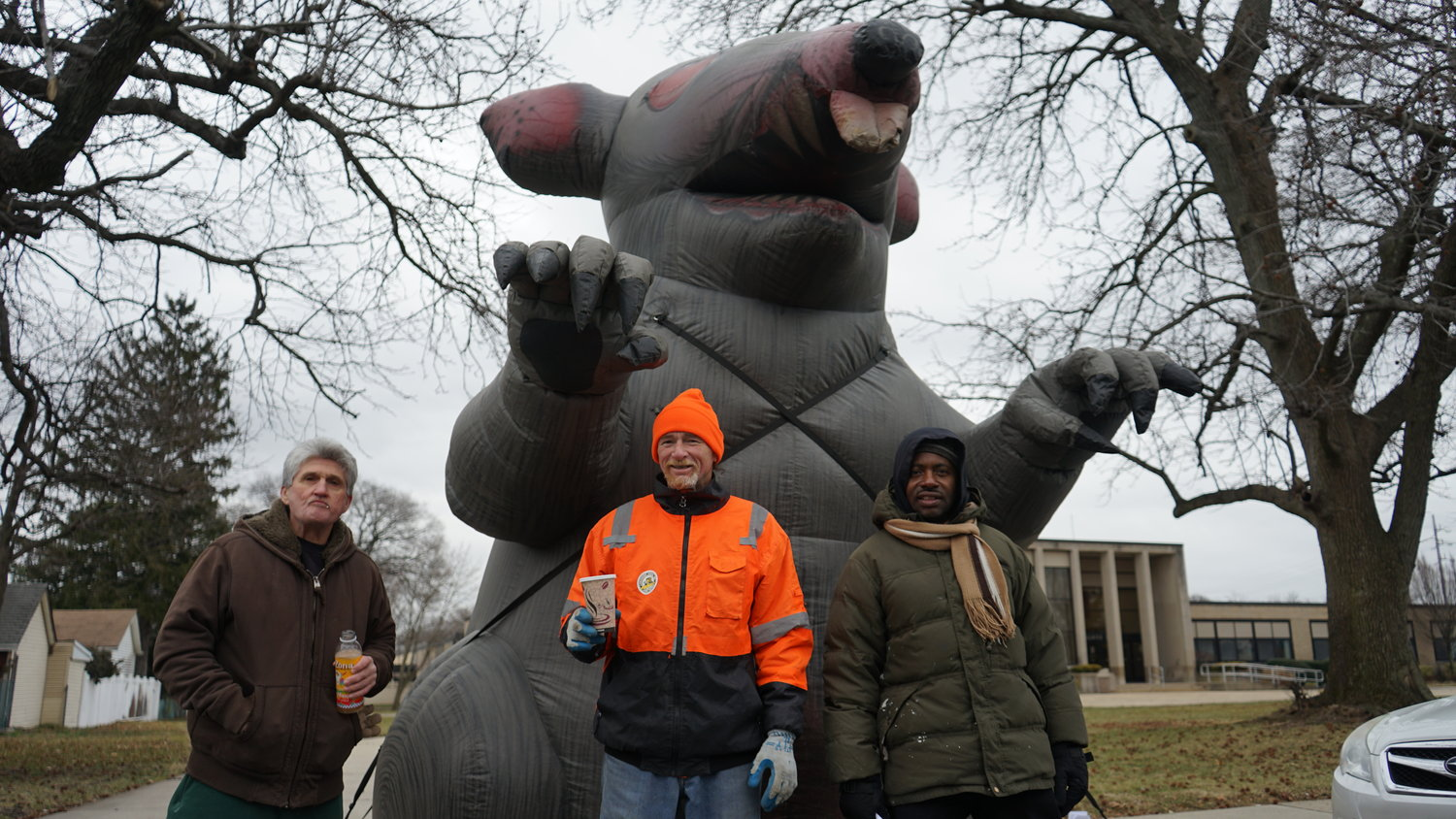 Members of Local 66 had placed an inflatable rat outside Village Hall in response to rumors that non-union labor was being used for a village construction project. The contractor hired to carry out the work has since agreed to bring Local 66 workers onto the job.