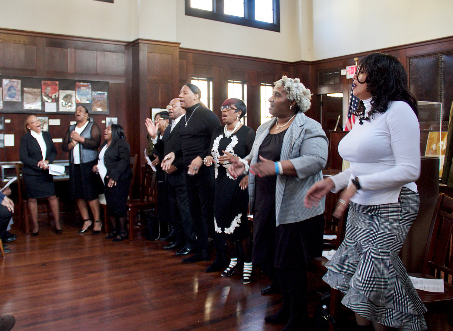 The Adult Choir of the First Baptist Church of Glen Cove treated visitors to the North Shore Historical Museum to a rousing performance of a number of gospel songs to celebrate the start of Black History Month.