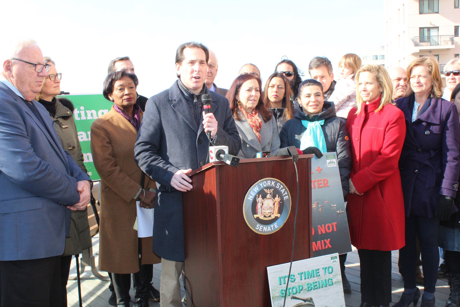 State Sen. Todd Kaminsky held a news conference on Sunday on the boardwalk, where he announced that a bill that he sponsored to ban offshore drilling was expected to pass in the State Legislature.
