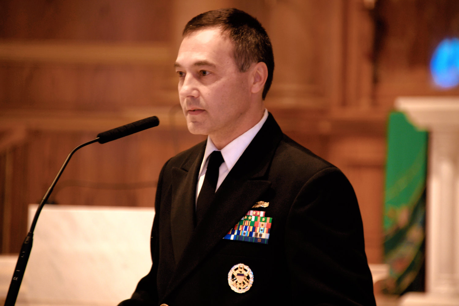 Retired U.S. Navy Captain Robert Bazan led the ceremony.