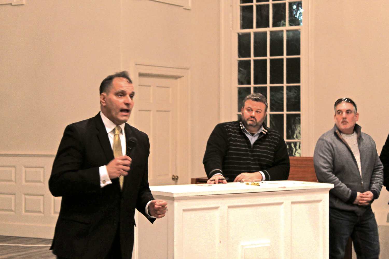 Oyster Bay Town Supervisor Joseph Saladino, left, shared the state of the town with residents at a civics meeting on Jan. 31.
