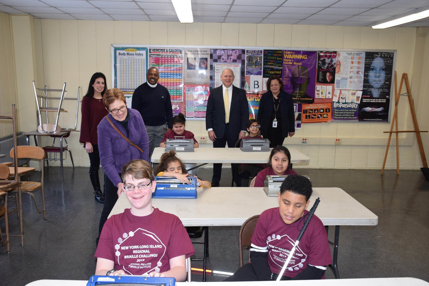 East Meadow District officials encouraged students at the 12th annual Long Island Regional Braille Challenge at W.T. Clarke High School on Feb. 2.