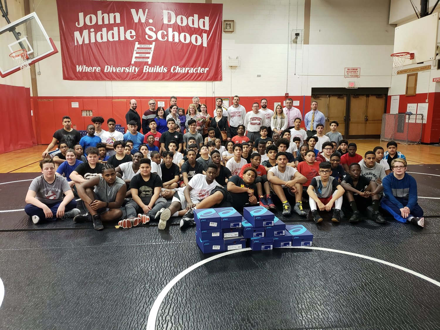 The entire J.W. Dodd Middle School team received new shoes.