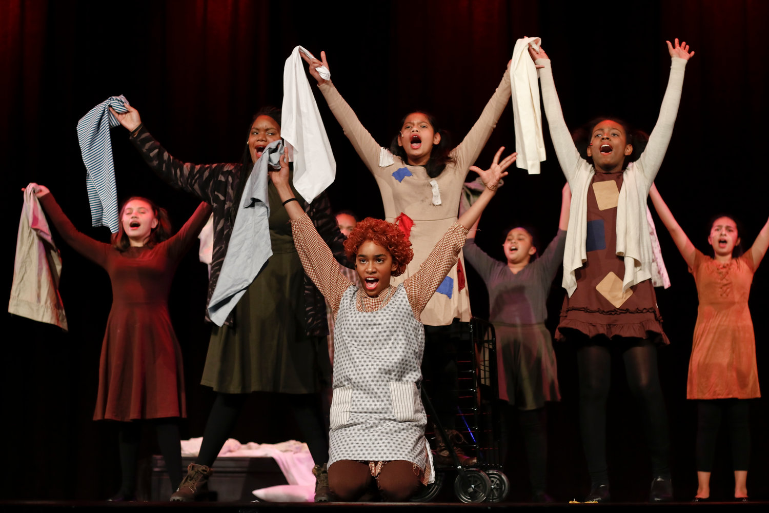 """Annie Jr.,"" a version of the musical ""Annie"" performed by a younger cast, debuted at the Freeport High School Performance Center on Jan. 31. The ""orphans"" performed ""It's a Hard-Knock Life."""