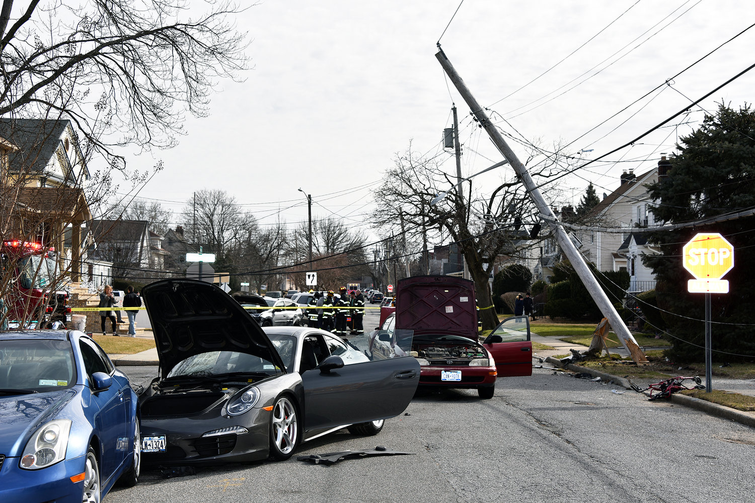A multi-car crash on Hewlett Parkway severely damaged a utility pole and resulted in area homes losing power for a brief time on Feb. 10.