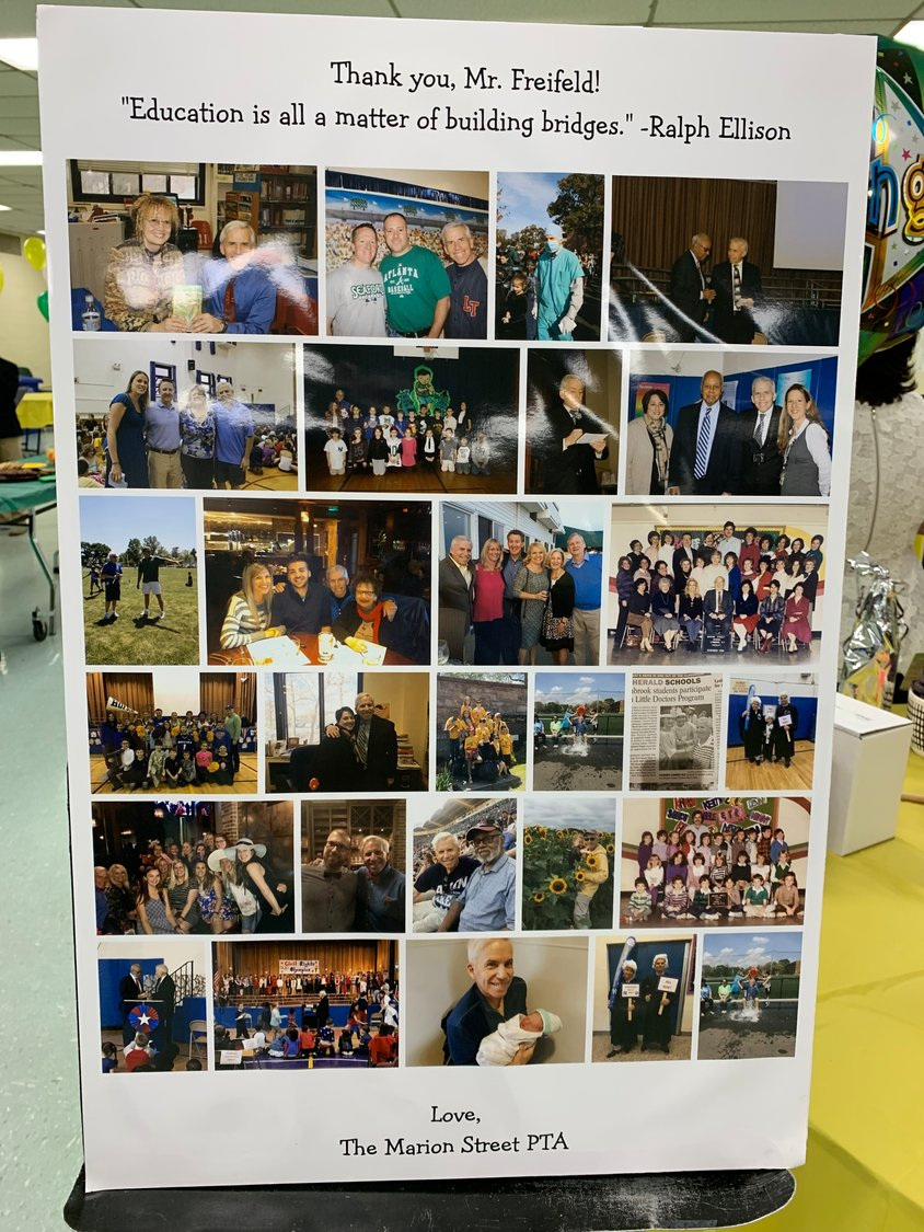 Allison Byrne, a parent volunteer, compiled a photo collage of teacher Steve Freifeld's contributions to the school over his more than four decades teaching at Marion Street.