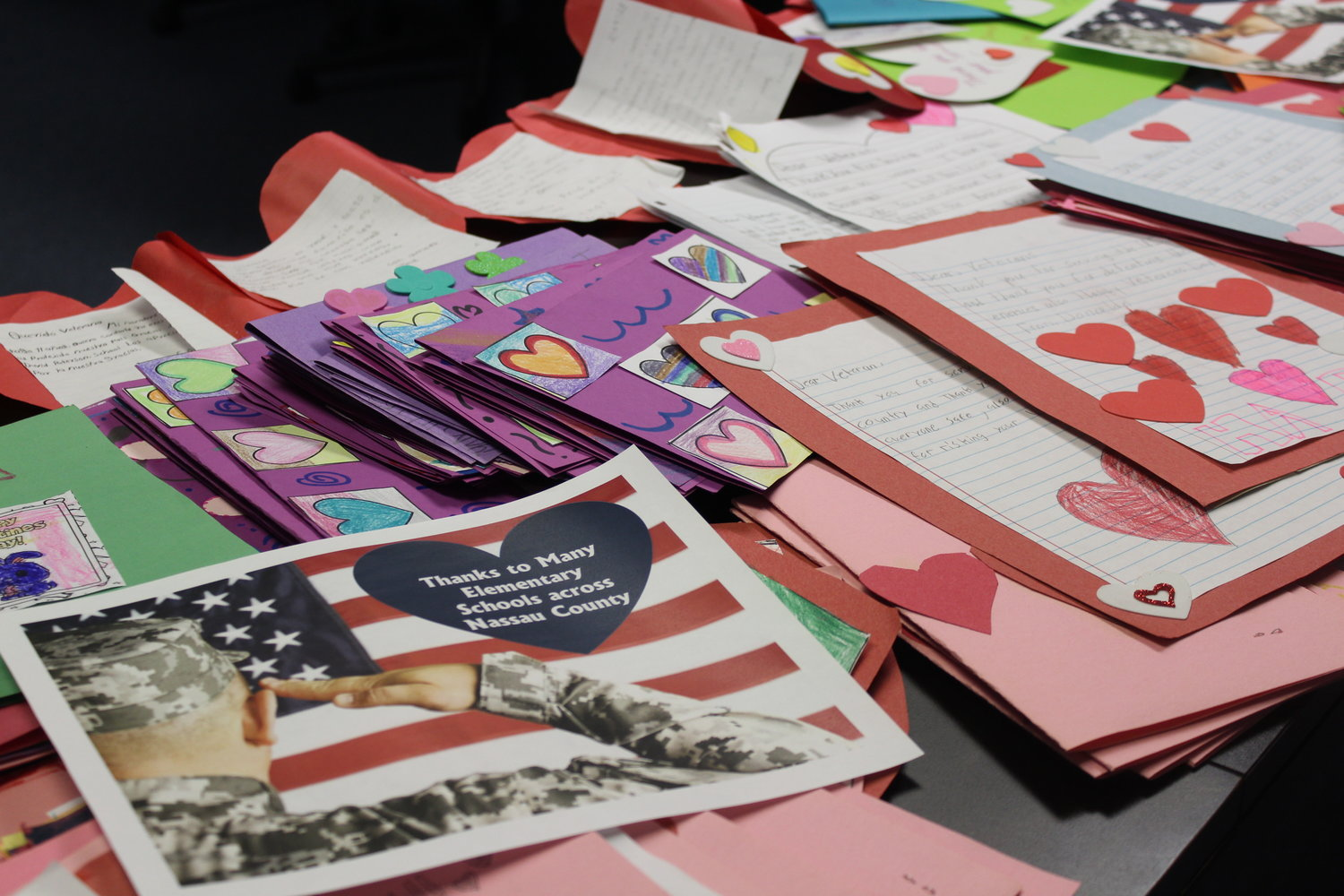 Genine Chiano collected more than 100 Valentine's Day cards from various Long Island organizations.