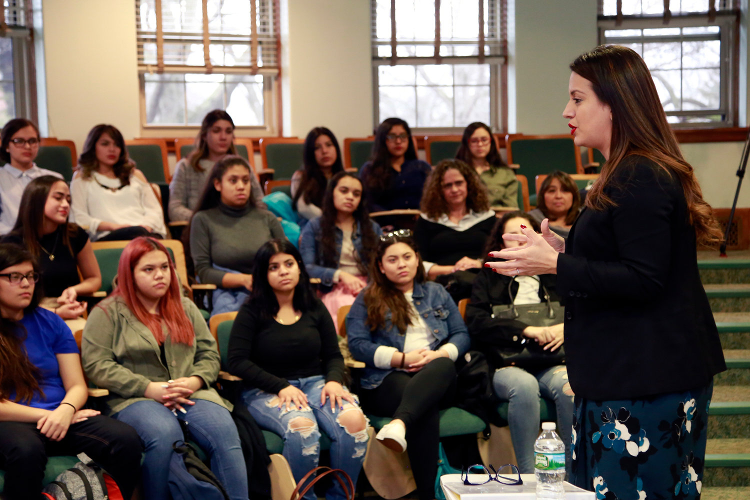 Assemblywoman Catalina Cruz, a Democrat from Jackson Heights, spoke to students in Molloy College's Mentoring Latinas program on Feb. 7.