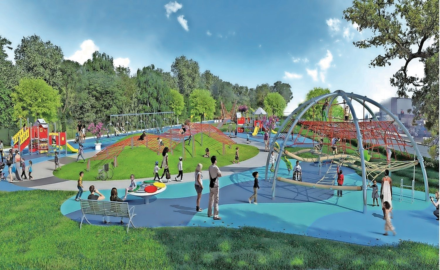 Original plans for Mr. B's Playground, pictured, will change slightly after the village decided in October to move its planned site.