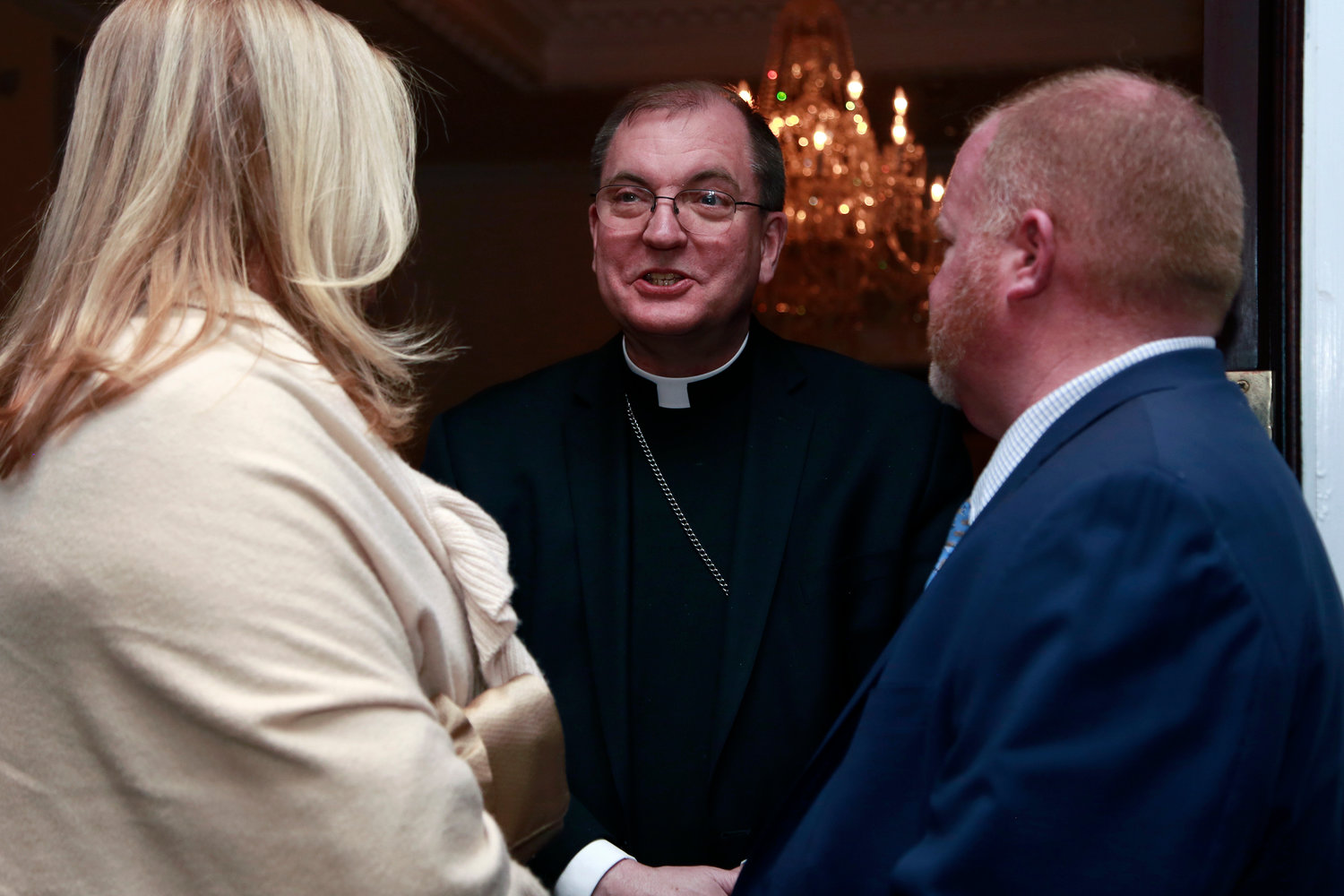 Bishop John O. Barres chatted with Fran and Mary Beth Darcy.