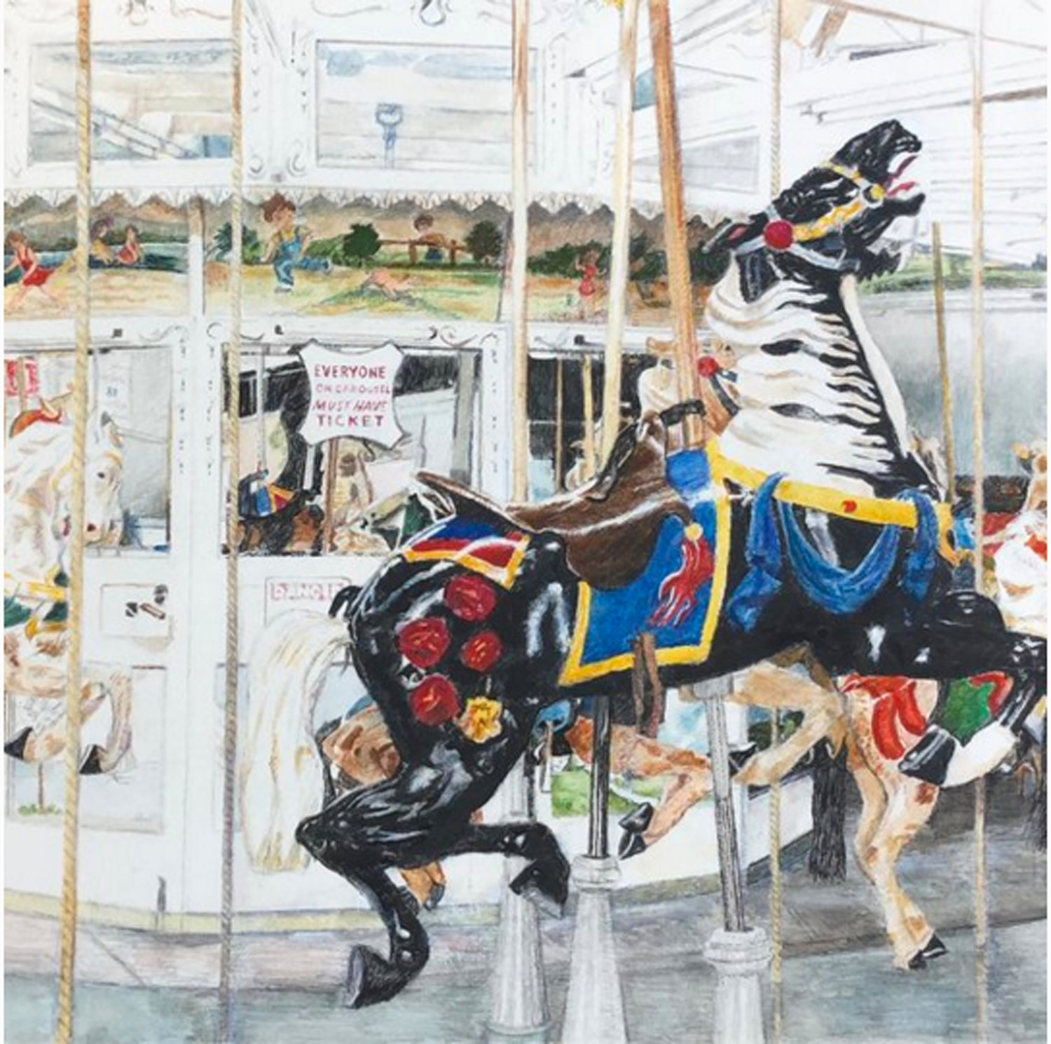Artist Michael White, who captured Nunley's Carousel in this earlier work, has completed a new 7-by-5-foot mural of the carousel, which will be unveiled next month and later displayed at the Baldwin Long Island Rail Road station.