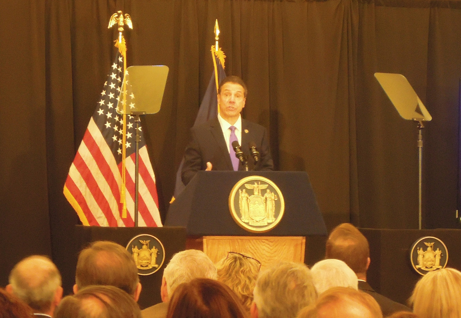 Gov. Andrew Cuomo stressed tax cuts in an address to the Long Island Association at the Crest Hollow Country Club on Feb. 8.