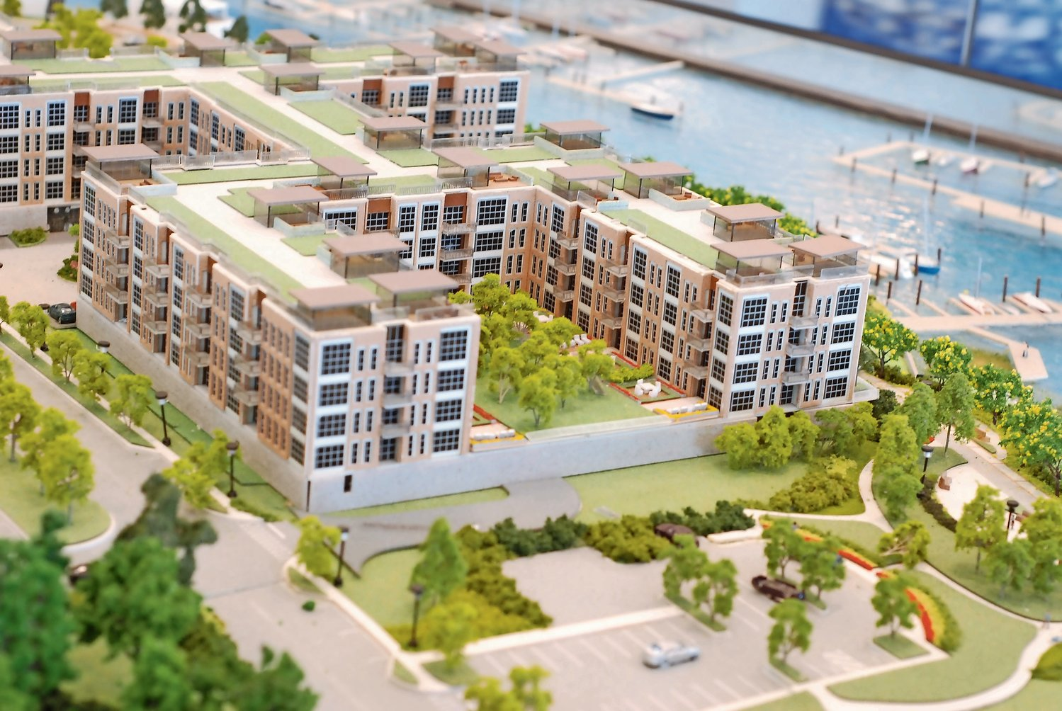 A model of the billion-dollar Garvies Point waterfront project in Glen Cove. The Village of Sea Cliff and local residents had separately sued to halt the project, but lost in court.