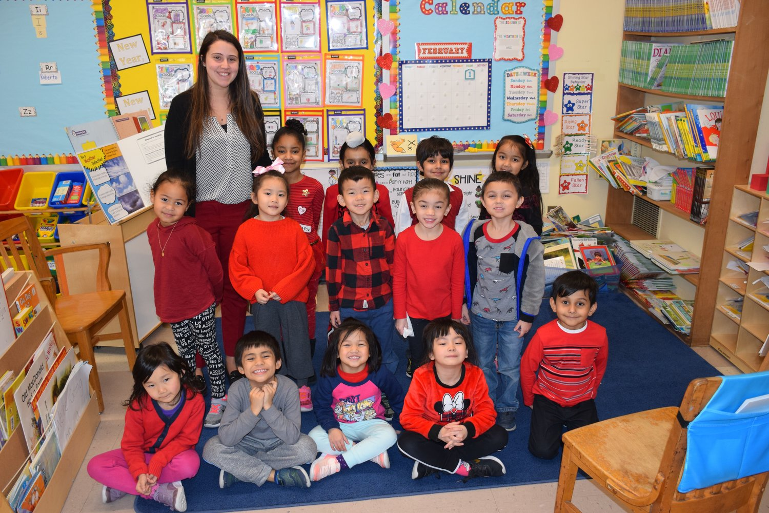 Students and teachers at Bowling Green Elementary School in the East Meadow School District were clad in crimson and scarlet as they all took part in National Wear Red Day on Feb. 1 to help spread awareness about heart disease.