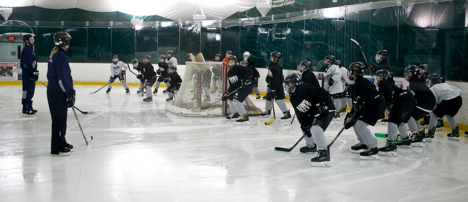 Team practices are split up by age group. While children as young as 3 work on developing basic hockey skills, the older players, up to age 18, run more advanced drills and plays.