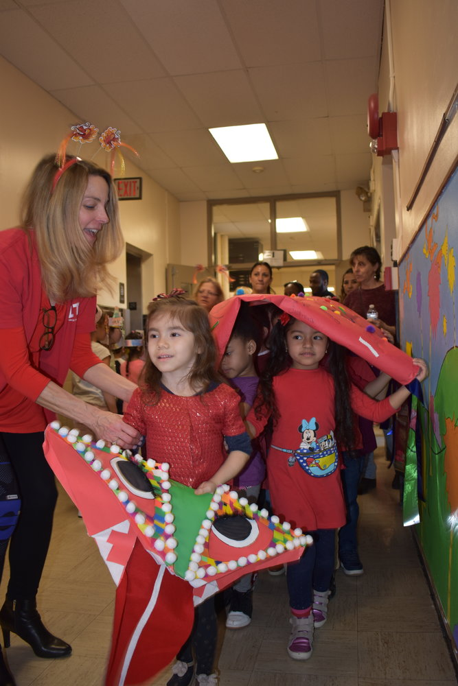 Kindergartner Lindsey Palacios was the head of the dragon costume at the front of the Chinese Lunar New Year parade.
